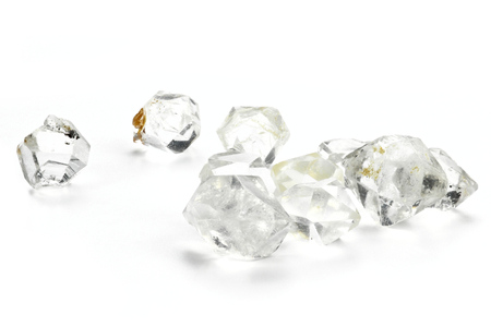 Herkimer diamonds isolated on white background Stock Photo