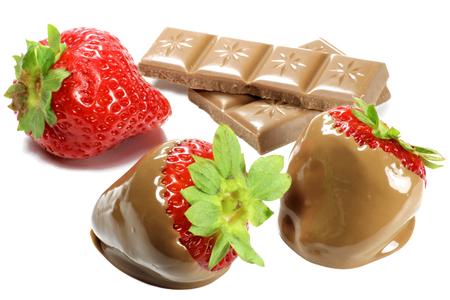 chocolate covered strawberries isolated on white background