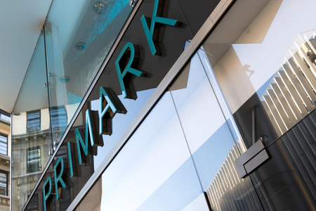 associated: Lettering at Primark store. Primark is an Irish clothing retailer and a subsidiary of Associated British Foods. Editorial