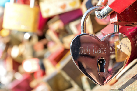 love lock at the Hohenzollern Bridge in Cologne  Germany Stock Photo