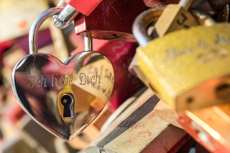 love declaration: love lock at the Hohenzollern Bridge in Cologne  Germany Stock Photo