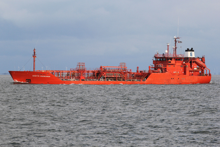 Annette Essberger on the river Elbe. Essberger tanker is a leading operator of chemical tankers within Europe.
