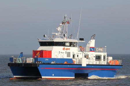operational: crew transfer vessel LINA on the river Elbe. The Cat-SWATH tender LINA is on operational by E.ON in the German North Sea.