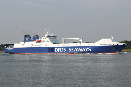 britannia: BRITANNIA SEAWAYS inbound Rotterdam. DFDS Seaways is a large Danish shipping company operating passenger and freight services across Northern Europe. Editorial