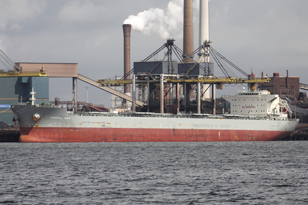 bulk carrier KASTELLI WAVE at Tata Steel steelworks in IJmuiden  Netherlands