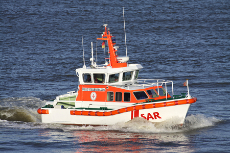 DGzRS SAR lifeboat GILLIS GULLBRANSSON on the river Elbe. The DGzRS is responsible for Search and Rescue in German territorial waters in the North Sea and the Baltic Sea. Editorial