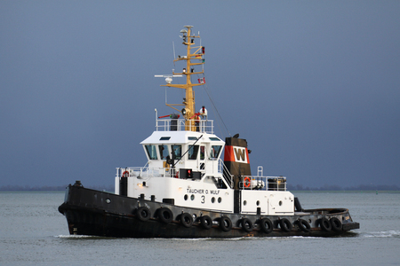 Tugboat TAUCHER O. WULF 3 on the river Elbe