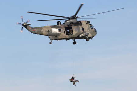 German Navy Westland Sea King Mk.41 helicopter on a search and rescue exercise winching workout