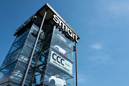 appointed: smart tower against blue sky. Smart is a German automotive company and division of Daimler AG. Editorial