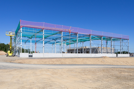 Building site with constructional steelwork