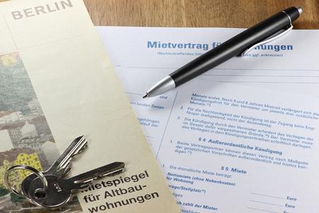 rent index: German lease contract with rent index on desktop