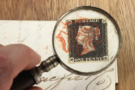one penny black, the worlds first adhesive postage stamp with red Maltese cross cancellation on entire wrapper