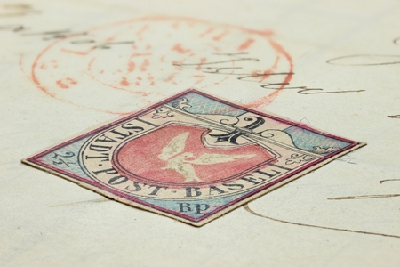 Forgery of the Basel Dove. The Basel Dove is a notable stamp issued by the Swiss canton of Basel and was the first tricolor stamp in the world, issued on 1 July 1845. Editorial