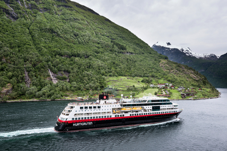 Hurtigruten coastal vessel TROLLFJORD in the Geirangerfjord, Norway