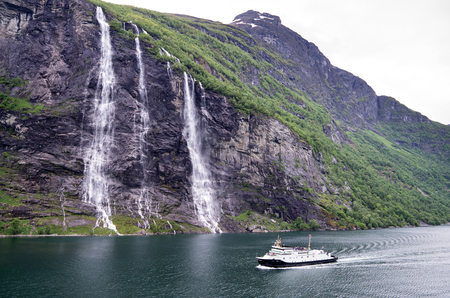 Seven Sisters, the 39th tallest waterfall in Norway. The waterfall consists of seven separate streams and the tallest of the seven has a free fall that measures 250 meters.