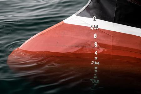 depth measurement: metric draft marks on a ship Stock Photo