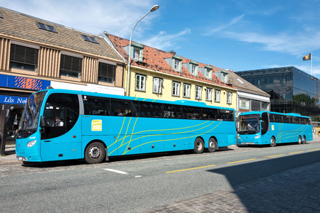 Scania OmniExpress busses of AtB in Trondheim, Norway. AtB is the public transport administration company in Sor-Trondelag county.