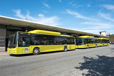 Gas-powered MAN Lion's City busses of AtB at the stop Sentralstasjon in Trondheim. Trondheim is the city in Norway with the most gas buses in operation.
