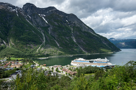 Eidfjord village with AIDAsol at Cruise Terminal. Eidfjord is a municipality in Hordaland county, Norway.