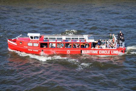 NEW YORK, launch of Maritime Circle Line on Hamburg harbor sightseeing tour. Editorial