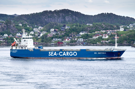 multimodal: Ro-ro vessel SC ASTREA of Sea-Cargo Skips AS outbound Bergen, Norway.  Sea-Cargo is a multimodal transport company, provides logistics services on the North-Sea market.