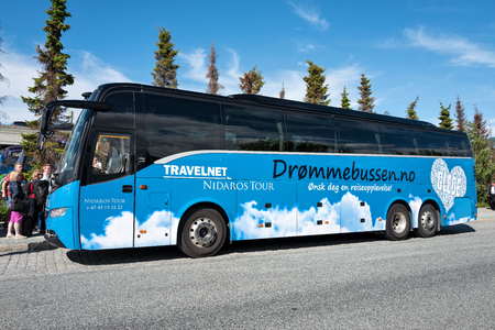 Volvo 9900 coach of Drommebussen. Drommebussen is a collaboration between Travelnet and Nidaros Tours.