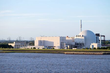 Riverside view of Brokdorf Nuclear Power Plant, Germany. It started in October 1986 and the decommissioning is planned for 2021. Sajtókép