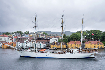 STATSRAAD LEHMKUHL, a three-masted barque rigged sail training vessel owned and operated by the Statsraad Lehmkuhl Foundation in Bergen, Norway