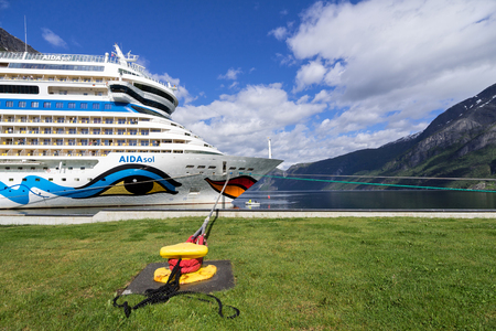 AIDAsol at Eidfjord Cruise Terminal. AIDAsol is a Sphinx class cruise ship, built at Meyer Werft for AIDA Cruises, one of ten brands owned by Carnival Corp.