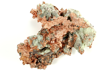 cu: native copper from Michigan USA isolated on white background