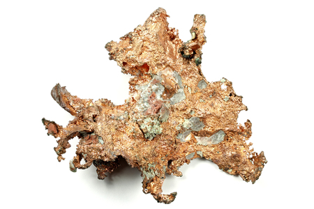 cu: copper nugget isolated on white background