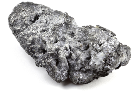 natural platinum nugget from Nischni-Tagil (Russia) isolated on white background Stockfoto