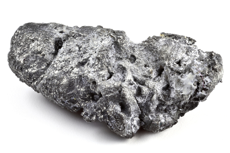 natural platinum nugget from Nischni-Tagil (Russia) isolated on white background Фото со стока