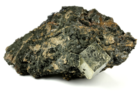 pyrite cubic crystals on bedrock from Norway isolated on white background