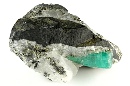 emerald nestled in bedrock found in Chivor Colombia