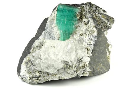 emerald nestled in bedrock found in Chivor Colombia
