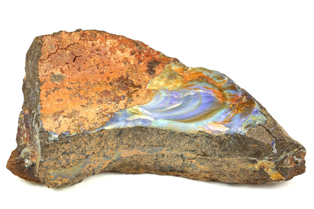 boulder opal found in Queensland Australia isolated on white background