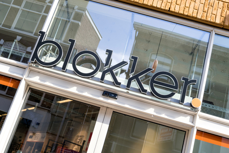Blokker sign at branch in the city center of Gouda, Netherlands. Blokker is a Dutch household supply store chain owned by the Blokker Holding.