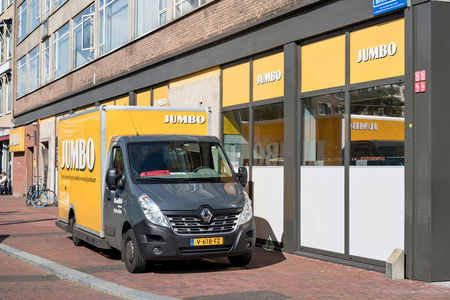Jumbo delivery van at branch. Jumbo is the second-largest supermarket chain in the Netherlands.