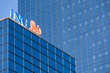 ING sign at branch. ING is a Dutch multinational banking and financial services corporation headquartered in Amsterdam.