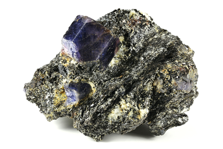 Sapphire nestled in bedrock found in Zazafotsy Quarry, Fianarantsoa Madagascar Stock Photo