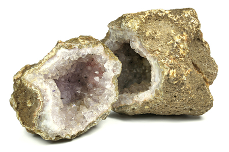 Amethyst geode found in Algeria isolated on white background