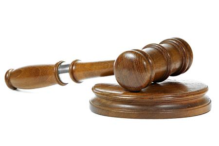 wooden gavel isolated on white background Stock Photo