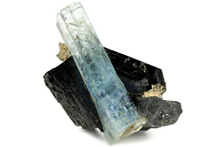 aquamarine crystal with schorl from Erongo Namibia isolated on white background
