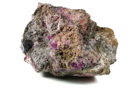 erythrite (cobalt bloom) from Schneeberg (Ore Mountains Germany) isolated on white background