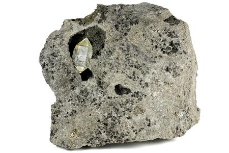 Herkimer diamond nestled in bedrock isolated on white background Imagens