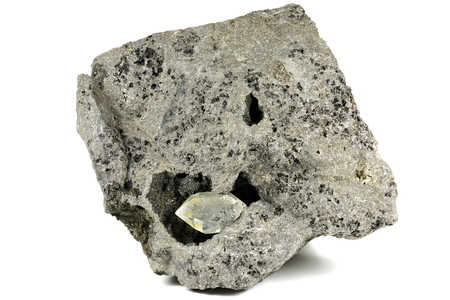 Herkimer diamond nestled in bedrock isolated on white background Banque d'images