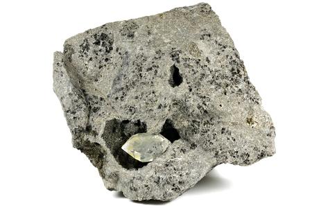 Herkimer diamond nestled in bedrock isolated on white background 스톡 콘텐츠