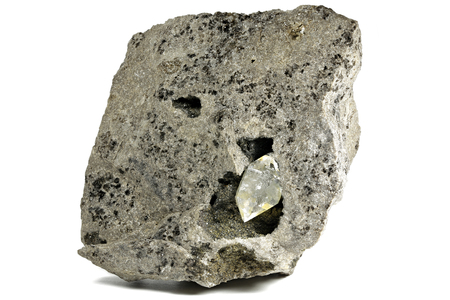 Herkimer diamond nestled in bedrock isolated on white background Stock Photo