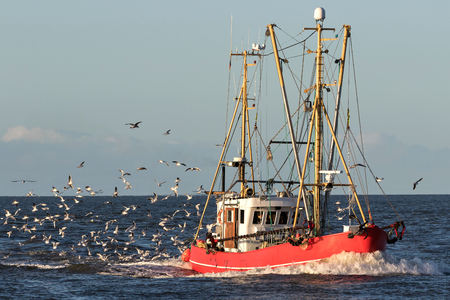 fishing vessel at sea 스톡 콘텐츠